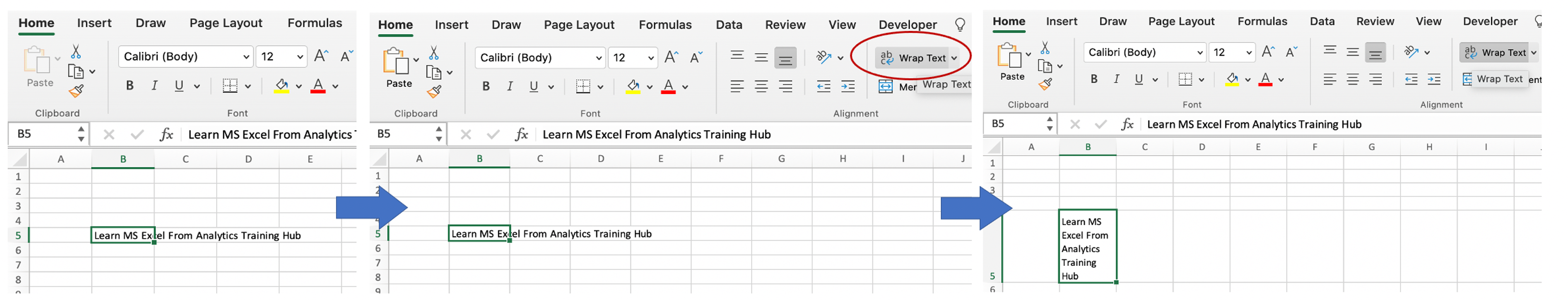 excel interview Questions Wrap text