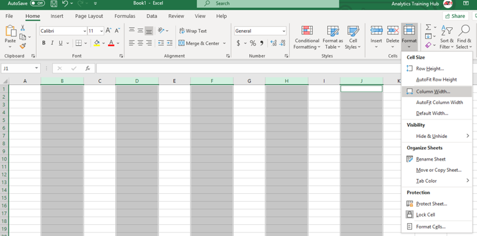 steps to resize one or multiple columns