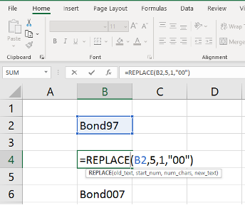REPLACE functions in Excel