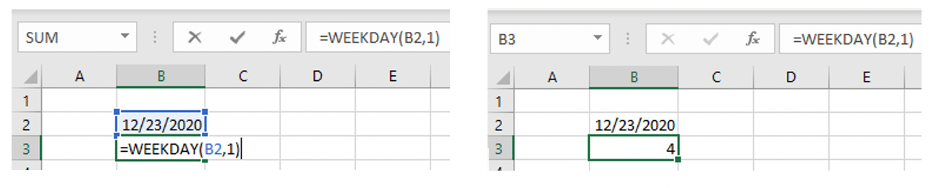 'WEEKDAY' function in Microsoft Excel